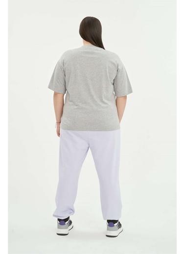 Luokk Gavın Yarım Kol Bol Kesim Kadın T-Shirt Grimelanj Gri